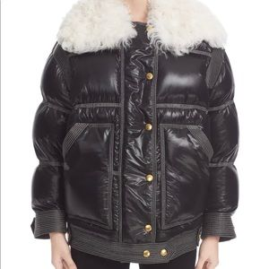 Burberry Puffer Coat with Genuine Shearling Collar